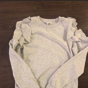 Fleece sweatshirt with cold shoulder